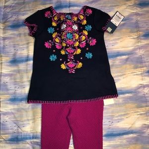 2 piece matching set with embroidered design